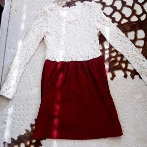 Dresses & Skirts - Rose Lace Velvet Mini Dress in Wine Red