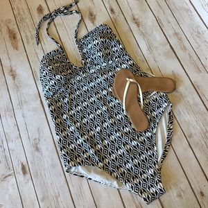 Old Navy Other - Old Navy- Beautiful Black & White Halter Swimsuit