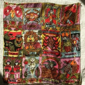 Vintage Accessories - Vintage 1960's multicolor zodiac scarf