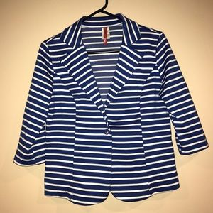 Jackets & Blazers - Royal Blue & White Striped 3/4 Sleeve Blazer
