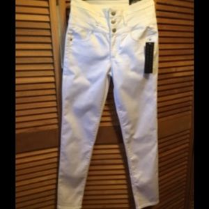 Tinseltown Pants - Tinseltown High Waist White Denim Pants