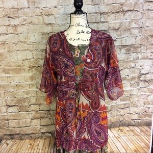 CABi Paisley printKimono style sheer top w/tie