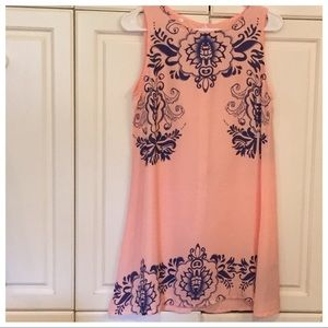 Peach & Navy Dress