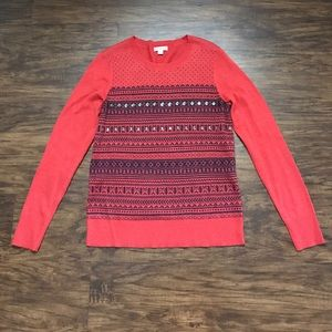 Patterned and Embellished Red Sweater Size S