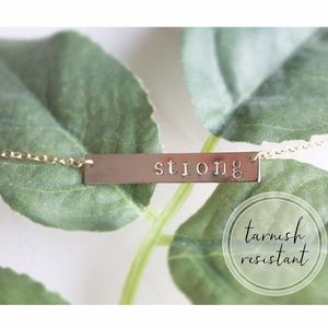 Hand Stamped | STRONG Gold Bar Necklace