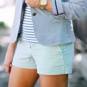 J. Crew Pants - J. Crew Green White Seersucker Shorts