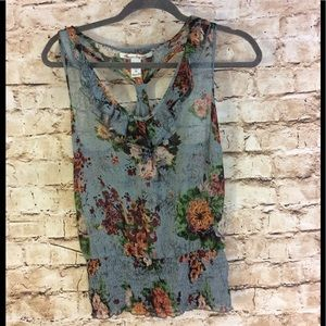 American rag sheer floral v-neck floral top