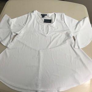 Ashley Stewart Tops - Ashley Stewart white ruffle sleeve shirt size14/16
