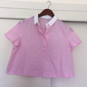 Zara Trafaluc pink/ white striped cropped blouse