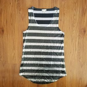 Silence + Noise black and white sequined tank top