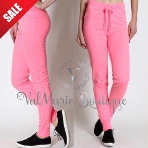 ValMarie Boutique Pants - NEON PINK CLASSIC SWEATPANTS