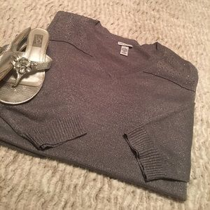 Catherines Tops - Catherine Grey Shimmer Lightweight Sweater NWOT