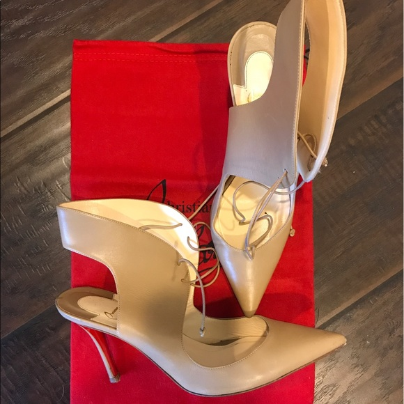 Christian Louboutin Shoes - Christian Louboutin Franka nude lace up heels 38.5