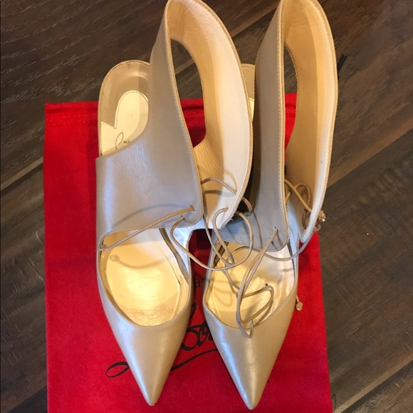 Christian Louboutin Shoes - Christian Louboutin Franka nude lace up heels 38.5