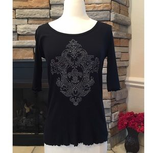 FREEDOM Tops - Stud/Rhinestone Embellished Shirt