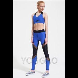 yoggao Pants - YOGGAO Active Sportswear Mesh Leggings - Sax Blue