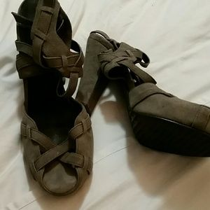 Calvin Klein grey suede platform heels