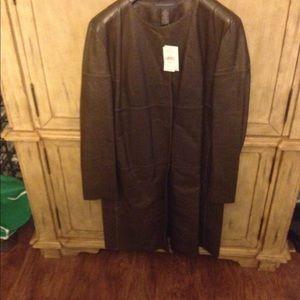 Beautiful olive long leather jacket