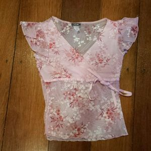 rave Tops - Vintage sheer cherry blossom pink top :)