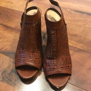 Call It Spring Shoes - Call It Spring Dark Brown Open Toe Booties Size 10