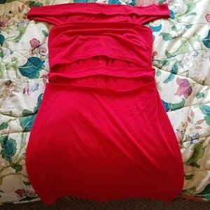Dresses & Skirts - Off the shoulder cut out red dress