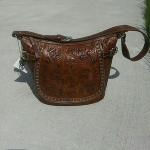 American West Handbags - American West brown tooled leather purse.