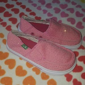 Sanuk Other - Little Girl Sanuk Loafers Pink with Gold Glitter