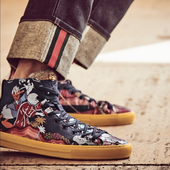 e9762a887c71 Gucci Shoes | Jacquard High Top Sneakers With Donald Duck | Poshmark