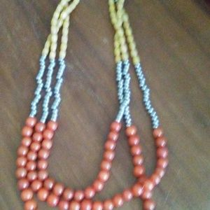 Jewelry - Silver/Coral/Yellow Triple Strand Beaded Necklace