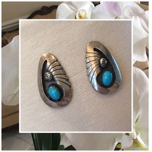 Jewelry - Native American Indian Turquoise & S.S. earrings