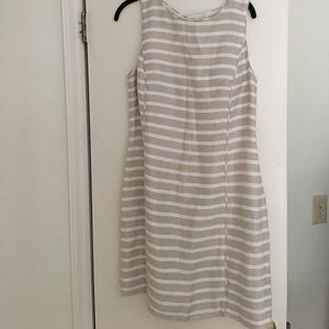 NWT Banana Republic cream/white striped dress 12