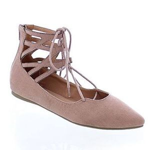 Mauve Pointed Toe Lace Up Flats