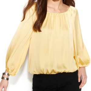 Yellow Vince Camuto Peasant Blouse NWT