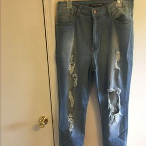 Extreme high waisted ripped jeans