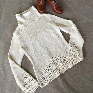 Classiques Entier Sweaters - Classiques Entier Ivory Cotton Blend Sweater