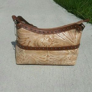 American West Handbags - American West - tan and brown tooled leather purse