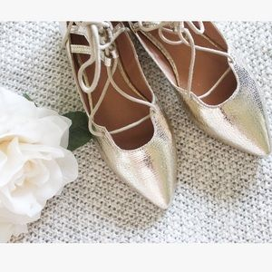 Metallic Gold Lace Up Flats