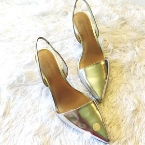 NIB Banana Republic Silver Metallic Slingback Heel