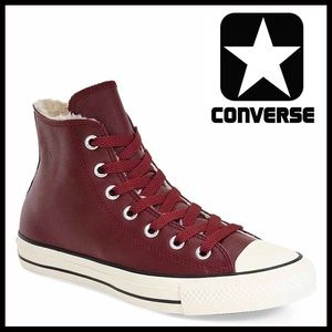 CONVERSE LEATHER Faux Fur Lined High Tops