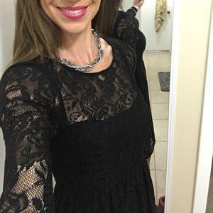 Black lace dress. Built in slip!