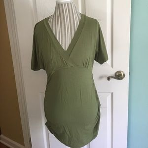 Isabella Oliver Tops - Isabella Oliver Green V Neck Short Sleeve Tunic 4