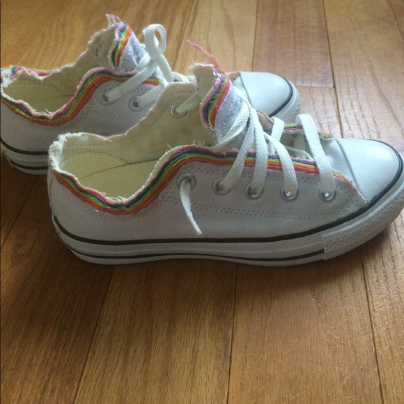 dc79588104244f Converse Shoes - White and rainbow fringe Converse.