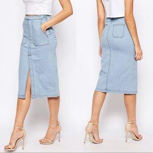 ASOS • Boohoo Denim Pocket Pencil Skirt