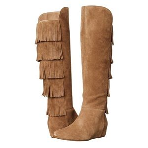 New Isola Fringe Wedge Suede Boots
