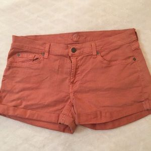 7 For All Mankind Pink 5 Pocket Cuffed Shorts