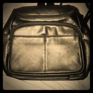Genuine Leather black vintage mini backpack EUC