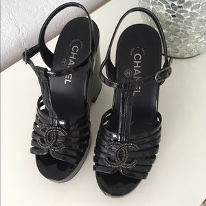 CHANEL Shoes - Chanel CC black wedges