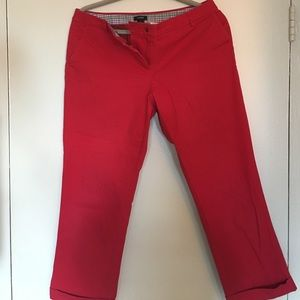 Red J.Crew city fit cropped pants
