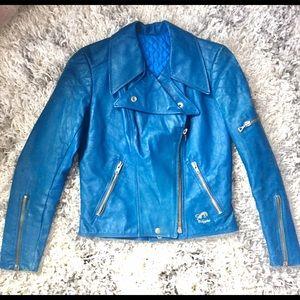 Vintage 70s blue leather jacket Sz small
