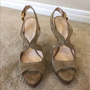Prada Shoes - NWOT PRADA platform suede heels, Italy